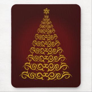 Elegant Red Christmas Tree Mouse Pad