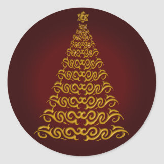 Elegant Red Christmas Tree Stickers