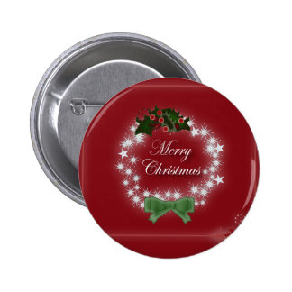 Elegant Red Christmas Wreath 2 Inch Round Button