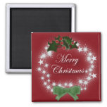 Elegant Red Christmas Wreath 2 Inch Square Magnet