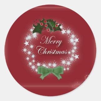 Elegant Red Christmas Wreath Classic Round Sticker