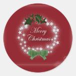 Elegant Red Christmas Wreath Round Stickers