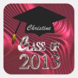 Elegant Red Class Of 2013 Graduation Seals Sticker