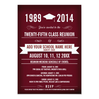 Elegant Red Class Reunion Invitations
