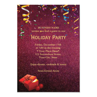 Elegant Red Corporate Holiday Party Invitations