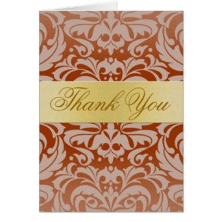Elegant Red Damask Gold Ribbon Thank You Card