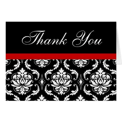 Elegant Red Damask Monogram Wedding Thank You Note Card