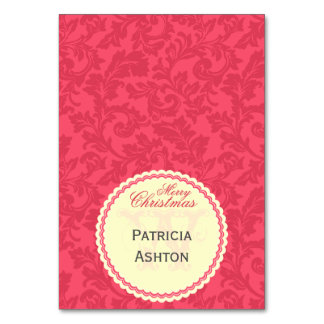 Elegant Red Damask Single-Sided Tented Christmas Card