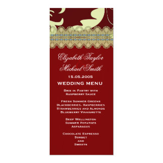 Elegant Red Damask Sunflower Wedding Menu Card