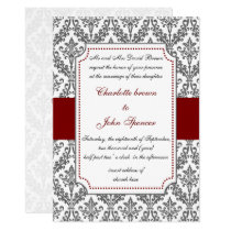elegant red ,damask wedding invitation