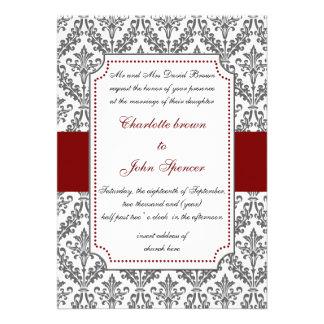 elegant red ,damask wedding invitation
