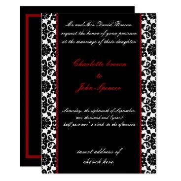 elegant red damask wedding invitation