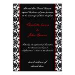 "elegant red  damask wedding invitation 5"" x 7"" invitation card"