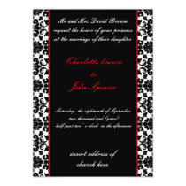 elegant red damask wedding invitation