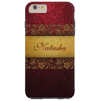 Elegant Red Damask with Gold Ornate Band Tough iPhone 6 Plus Case