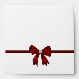 Elegant Red Diamond Bow Invitation Envelope Red