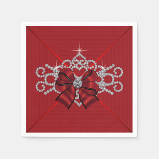 Elegant Red Diamond Bow Napkin