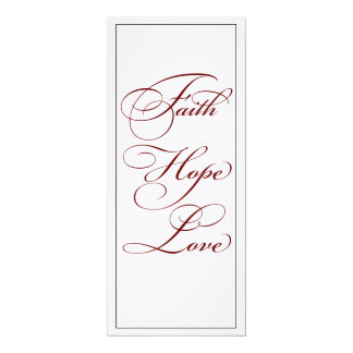 Elegant Red Faith Hope and Love Wedding Menu Card