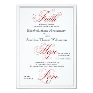 Elegant Red Faith Hope Love Wedding Invitation
