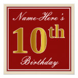 [ Thumbnail: Elegant, Red, Faux Gold 10th Birthday; Custom Name Invitation ]