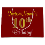 [ Thumbnail: Elegant, Red, Faux Gold 10th Birthday; Custom Name Gift Bag ]