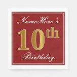 [ Thumbnail: Elegant Red, Faux Gold 10th Birthday + Custom Name Paper Napkin ]