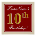 [ Thumbnail: Elegant, Red, Faux Gold 10th Birthday; Custom Name Poster ]