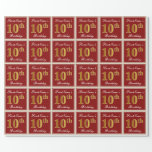 [ Thumbnail: Elegant, Red, Faux Gold 10th Birthday; Custom Name Wrapping Paper ]