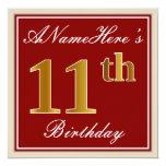 [ Thumbnail: Elegant, Red, Faux Gold 11th Birthday; Custom Name Invitation ]