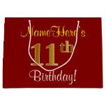 [ Thumbnail: Elegant, Red, Faux Gold 11th Birthday; Custom Name Gift Bag ]