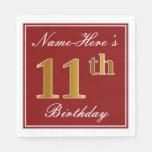 [ Thumbnail: Elegant Red, Faux Gold 11th Birthday + Custom Name Paper Napkin ]