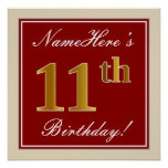 [ Thumbnail: Elegant, Red, Faux Gold 11th Birthday; Custom Name Poster ]