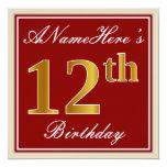 [ Thumbnail: Elegant, Red, Faux Gold 12th Birthday; Custom Name Invitation ]