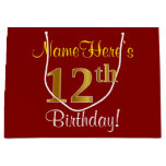 [ Thumbnail: Elegant, Red, Faux Gold 12th Birthday; Custom Name Gift Bag ]