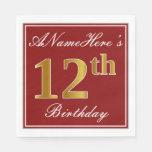 [ Thumbnail: Elegant Red, Faux Gold 12th Birthday + Custom Name Paper Napkin ]