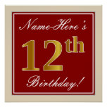 [ Thumbnail: Elegant, Red, Faux Gold 12th Birthday; Custom Name Poster ]