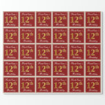 [ Thumbnail: Elegant, Red, Faux Gold 12th Birthday; Custom Name Wrapping Paper ]