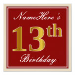[ Thumbnail: Elegant, Red, Faux Gold 13th Birthday; Custom Name Invitation ]