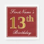 [ Thumbnail: Elegant Red, Faux Gold 13th Birthday + Custom Name Paper Napkin ]