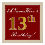 [ Thumbnail: Elegant, Red, Faux Gold 13th Birthday; Custom Name Poster ]