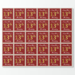 [ Thumbnail: Elegant, Red, Faux Gold 13th Birthday; Custom Name Wrapping Paper ]