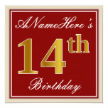 [ Thumbnail: Elegant, Red, Faux Gold 14th Birthday; Custom Name Invitation ]