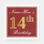 [ Thumbnail: Elegant Red, Faux Gold 14th Birthday + Custom Name Paper Napkin ]