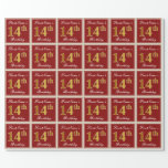 [ Thumbnail: Elegant, Red, Faux Gold 14th Birthday; Custom Name Wrapping Paper ]