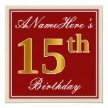[ Thumbnail: Elegant, Red, Faux Gold 15th Birthday; Custom Name Invitation ]