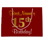 [ Thumbnail: Elegant, Red, Faux Gold 15th Birthday; Custom Name Gift Bag ]