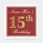 [ Thumbnail: Elegant Red, Faux Gold 15th Birthday + Custom Name Napkin ]