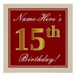 [ Thumbnail: Elegant, Red, Faux Gold 15th Birthday; Custom Name Poster ]