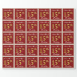 [ Thumbnail: Elegant, Red, Faux Gold 15th Birthday; Custom Name Wrapping Paper ]