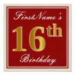 [ Thumbnail: Elegant, Red, Faux Gold 16th Birthday; Custom Name Invitation ]